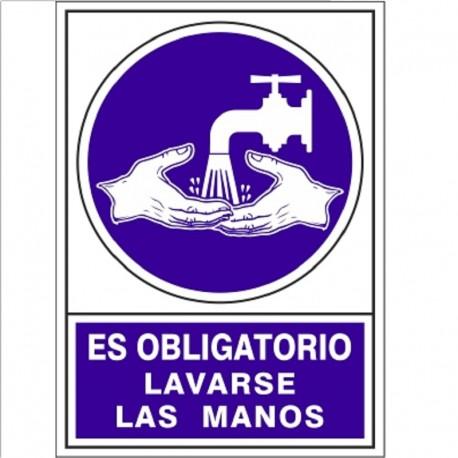 """SEÑAL 670 PLAST.345x245""""OBL.LAVAR.MANOS"""" ES OBLIGATORIO LAVARSE LAS MANOS"""