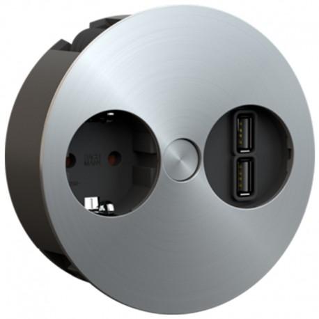 MÓDULO EMBUTIR TWIST 1 TOMA + 2 USB ACERO INOXIDABLE