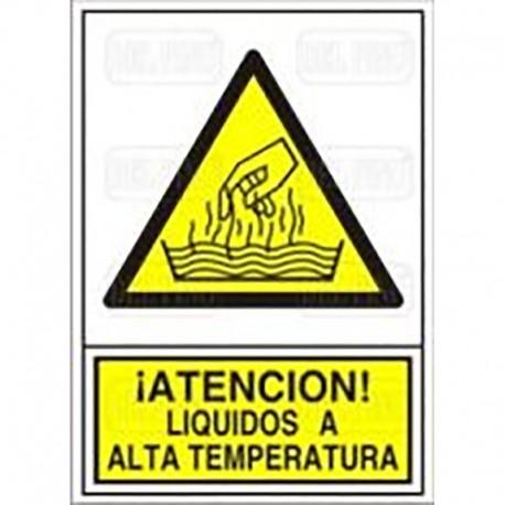 """SEÑAL 360 ADHESIVA 148x105 ¡ATENCIÓN! LÍQUIDOS A ALTA TEMPERATURA"""""""""""