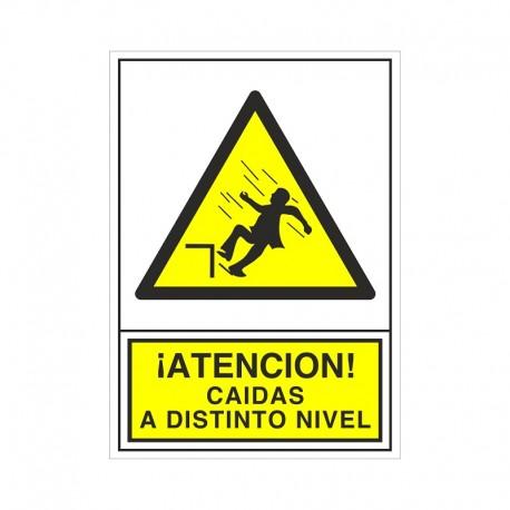 """SEÑAL 384 ADHESIVA 490x345 ¡ATENCIÓN! CAIDAS A DISTINTO NIVEL"""""""""""
