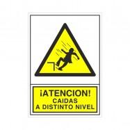 """SEÑAL 384 PLÁSTICO 345X245 """"¡ATENCIÓN! CAIDAS A DISTINTO NIVEL"""""""