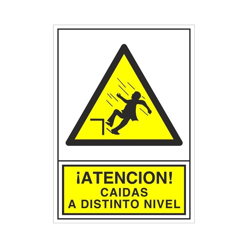 """SEÑAL 384 PLÁSTICO 345X245 ¡ATENCIÓN! CAIDAS A DISTINTO NIVEL"""""""