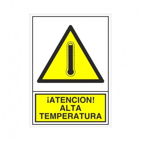 """SEÑAL 376 ADHESIVA 105x74 ¡ATENCIÓN! ALTA TEMPERATURA"""""""""""
