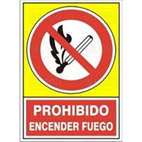 """SEÑAL 408 PLÁSTICO 490x345 PROHIBIDO ENCENDER FUEGO"""""""""""