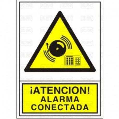 """SEÑAL ADHESIVA 105x74 1305 ¡ATENCIÓN! ALARMA CONECTADA"""""""""""