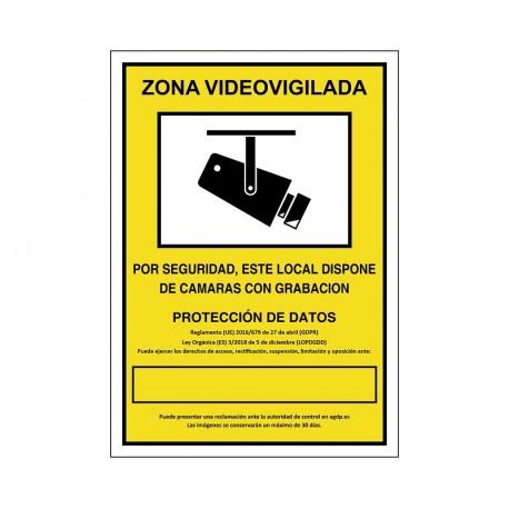 """SEÑAL 839 PLÁSTICO 297x210 ZONA VIDEOVIGILADA"""""""""""