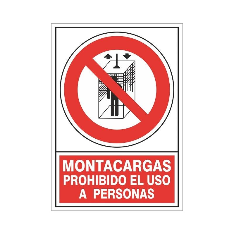 """SEÑAL 428 PLÁSTICO 345x245 MONTACARGAS PROHIBIDO EL USO A PERSONAS"""""""
