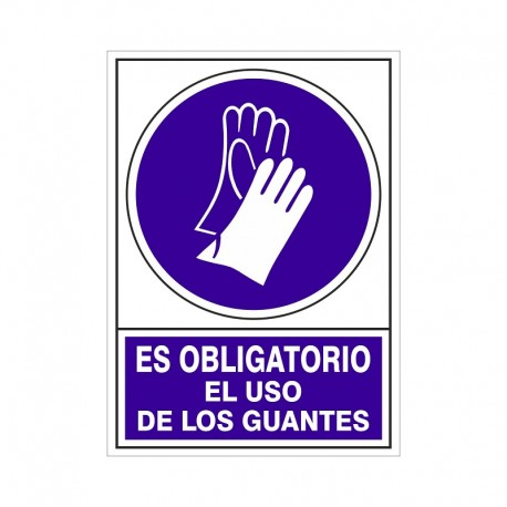 """SEÑAL 604 ADHESIVA 345x245 """"ES OBLIGATORIO EL USO DE LOS GUANTES"""""""
