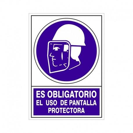 """SEÑAL 609 PLÁSTICO 345x245 """"ES OBLIGATORIO EL USO DE PANTALLA PROTECTORA"""""""