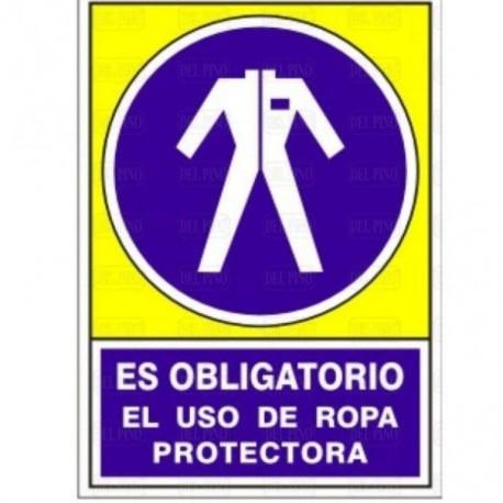 """SEÑAL 643 PLÁSTICO 345x245 """"ES OBLIGATORIO EL USO DE ROPA PROTECTORA"""""""