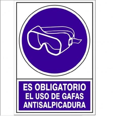 """SEÑAL 628 PLAST.345x245""""OBL.GAF.SALPIC"""" ES OBLIGATORIO EL USO DE GAFAS ANTISALPICADURAS"""