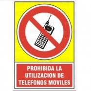 """SEÑAL 542 PLAST.345x245PROHIB.TELEFONO"""" PROHIBIDA LA UTILIZACION DE TELEFONOS MOVILES"""""""